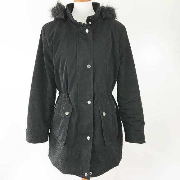 202e98b5fd7 Croft   Barrow Stadium Coat Large Fur Hood Black
